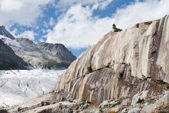 Rotsen die door gletsjer worden geërodeerdk Stock Foto's