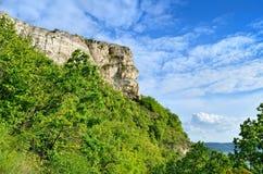 Rotsen en bos tegen de blauwe hemel Royalty-vrije Stock Afbeelding