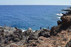 Rotsen en overzees in Tenerife Stock Afbeelding