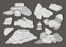 Rotsen en Stenenelementen stock illustratie