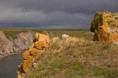 Rotsen met gele korstmos en bergrivier in de toendra op de achtergrond in bewolkt weer worden behandeld dat stock foto