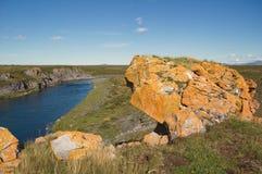 Rotsen met gele korstmos en bergrivier in de toendra op de achtergrond in zonnig weer worden behandeld dat royalty-vrije stock fotografie