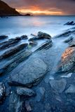 Rotsen op het overzees van Barrika Royalty-vrije Stock Foto's
