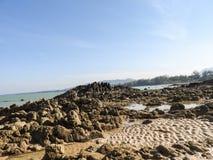 Rotsen op het zandige strand stock afbeeldingen