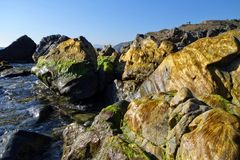 Rotsen op strand Royalty-vrije Stock Fotografie