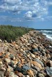 Rotsen op strand in montauk Royalty-vrije Stock Foto