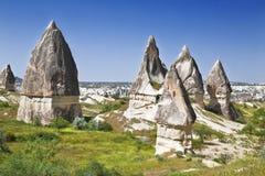 Rotsen in Rose Valley van het Nationale Park van Goreme in Centraal Anatolië, Royalty-vrije Stock Fotografie