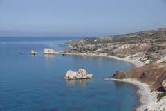 Rotsen van Aphrodite in Cyprus Stock Foto