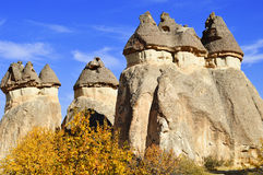 Rotsen van Cappadocia in Centraal Anatolië, Turkije stock afbeelding
