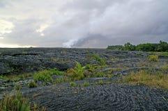 Rotsen van de gesmolten lavastroom op Hawaï royalty-vrije stock afbeeldingen