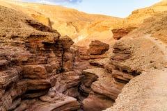 Rotsen van Rode canion in woestijn dichtbij Eilat-stad, Israël Royalty-vrije Stock Foto