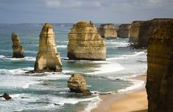 Rotsen van twaalf apostels langs de Grote Oceaanweg, Zuid-Australië stock afbeeldingen