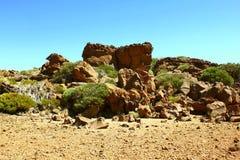 Rotsenmening dichtbij Teide-vulkaan Stock Foto's
