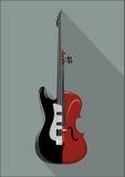 Rotsgitaar en viool Geïsoleerd muzikaal instrument op witte achtergrond Schrijver uit de klassieke oudheid en Rotsconcept Vector  royalty-vrije illustratie