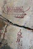 Rotsgravures in Tanum Stock Afbeelding