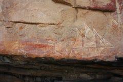 Rotskunst in Ubirr, kakadu nationaal park, Australië Stock Afbeelding
