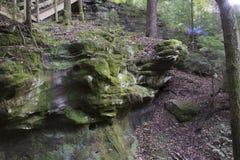 Rotsmuur, Ash Cave, Ohio stock foto