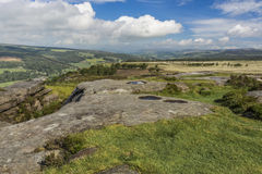 Rotspools bij Curbar-Rand, Derbyshire stock afbeelding