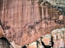 Rotstekeningen in Fruita bij Fremont-rivier, Utah Stock Afbeelding