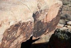 Rotstekeningen op de rots Stock Fotografie