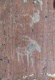 Rotstekeningen van de Bronstijd Royalty-vrije Stock Foto