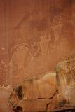 Rotstekeningen van de Inheemse Amerikaanse mensen van Anasazi Royalty-vrije Stock Foto's
