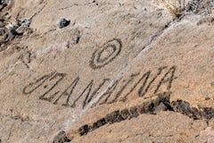 Rotstekeningen in vulkanische rots op de Sleep van de Koning, Kona, Hawaï worden gesneden dat stock fotografie