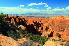 Rotsvinnen in Duivelstuin, Bogen Nationaal Park, Utah stock foto's