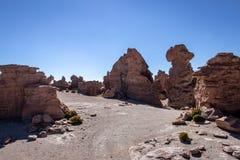 Rotsvormingen in Altiplano, Bolivië stock afbeelding
