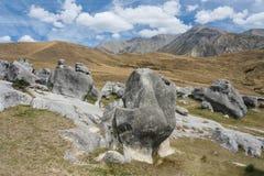 Rotsvormingen bij Kasteelheuvel, Nieuw Zeeland Stock Afbeelding