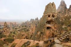 Rotsvormingen in Cappadocia, Anatolië, Turkije royalty-vrije stock foto's