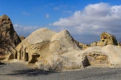 Rotsvormingen in Cappadocia, Anatolië, Turkije stock fotografie