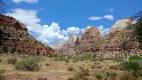 Rotsvormingen en Landschap in Zion National Park stock foto's