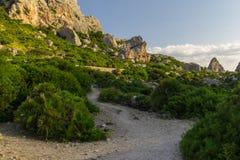 Rotsvormingen en Mediterrane flora dichtbij Pollenca in het eiland van Mallorca, Spanje royalty-vrije stock afbeeldingen