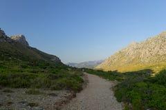Rotsvormingen en Mediterrane flora dichtbij Pollenca in het eiland van Mallorca, Spanje stock fotografie