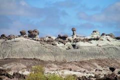 Rotsvormingen Ischigualasto, Valle DE La Luna stock fotografie
