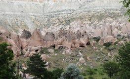 Rotsvormingen in Zelve-Vallei, Cappadocia Stock Afbeeldingen