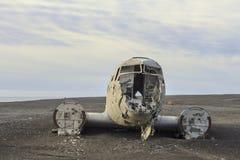 Rottame di un aereo: atterraggio di emergenza in Islanda Fotografia Stock
