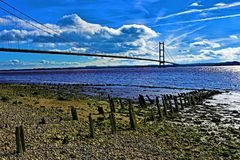 Rotte pier, naast Humber-Brug, Hull, Humberside, Yorkshire royalty-vrije stock foto
