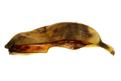 Rotten. Image of a rotten  banana's skin over white Stock Images