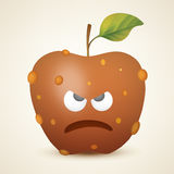 Rotten angry apple. Vector illustration created using gradient meshes Royalty Free Stock Photography