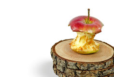 Rotten apple core on wood Royalty Free Stock Photography