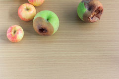 Rotten  apple and fresh  apple Royalty Free Stock Photo
