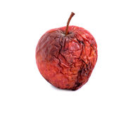 Rotten apple on white background. Dry skin , Health Royalty Free Stock Images