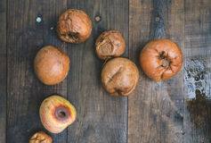 Rotten apples on wood Royalty Free Stock Image