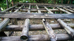 Rotten bamboo floor and framing. A rotten bamboo floor and framing showing the cracked and broken bamboo frames and missing flooring. Photo taken on November Stock Images