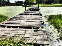Rotten Bridge in Sukhothai / Thailand. Royalty Free Stock Photo