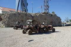 Rotten buggies for a cruise in croatia. Buggy rally in wild croatian landscape Royalty Free Stock Photo