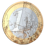 Rotten Euro. One euro coin, rotten, used, shabby, with scratches, 3d rendering Stock Photography