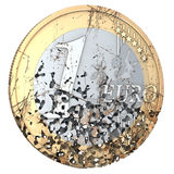 Rotten Euro. One euro coin, rotten, used, shabby, with scratches, 3d rendering Royalty Free Stock Photos